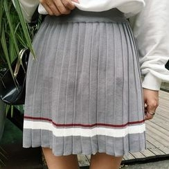 Frontline - Striped Pleated Knit Skirt