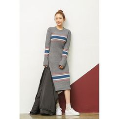 migunstyle - Round-Neck Contrast-Trim Knit Dress