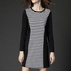 Mythmax - Long-Sleeve Stripe-Panel Dress