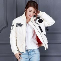 Rosehedge - Couple Matching Patch Embroidered Padded Bomber Jacket