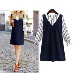 巧妮兒 - 條紋假兩件連衣裙