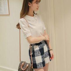 YUMU - Short-Sleeve Collared Blouse