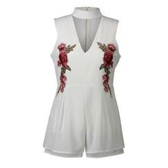 LIVA GIRL - Cut Out Front Flower Embroidered Sleeveless Playsuit