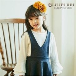 LILIPURRI - Girls Round-Neck Ruffle-Cuff Top