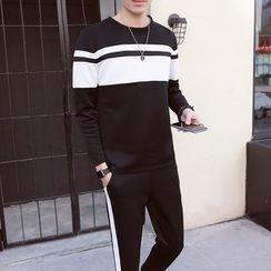 Danjieshi - Set: Striped Sweatshirt + Sweatpants