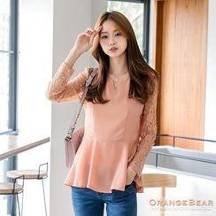OrangeBear - Lace-Sleeve Peplum Top