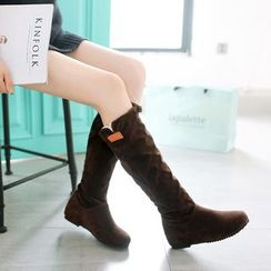 Pretty in Boots - Bow Hidden Wedge Tall Boots