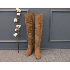 DANI LOVE - Chunky-Heel Faux-Suede Tall Boots