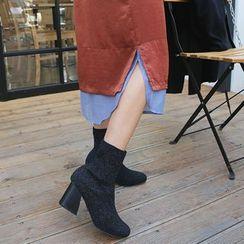 DABAGIRL - Contrast Layered-Hem Long Skirt