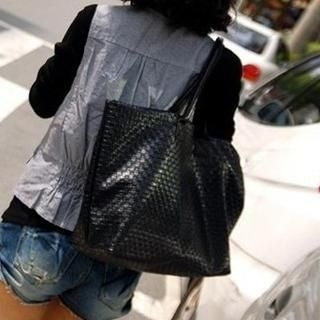 TAIPEI STAR - Faux-Leather Woven Tote