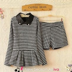 Ringnor - Set: Long-Sleeve Houndstooth Peplum Top + Shorts