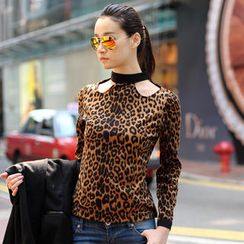 SO Central - Long-Sleeved Cutout Leopard Print Top