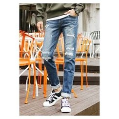 HOTBOOM - Distressed Straight-Cut Jeans
