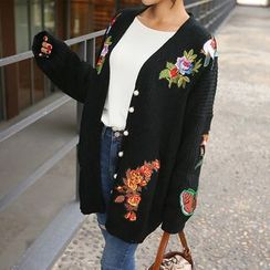 PPGIRL - V-Neck Appliqué Cardigan