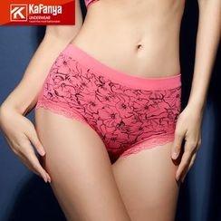 Kafanya - Floral Print Lace Trim Panties