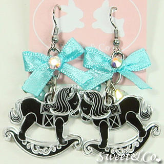Sweet & Co. - Blue Ribbon Silver Rocking Horse Earrings