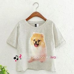 JVL - Short-Sleeve Dog-Print Cropped T-Shirt
