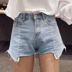 Velero - Asymmetric Hem Denim Shorts