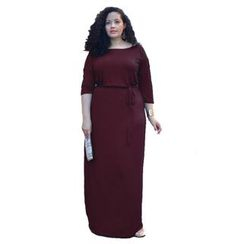 Hotprint - Plain 3/4 Sleeve Maxi Dress