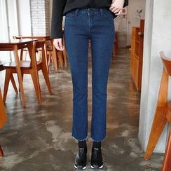 Seoul Fashion - Brushed-Fleece Lined Straight-Cut Jeans