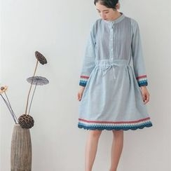 Ranche - Embroidered Trim Striped Long Sleeve A-Line Dress