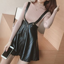 Reis - Set: Plain Long Sleeve Knit Top + Faux Leather Pinafore Dress