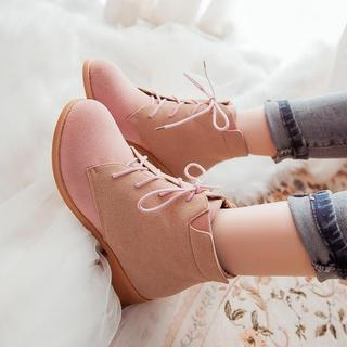 Pangmama - Two-Tone Lace-Up Ankle Boots