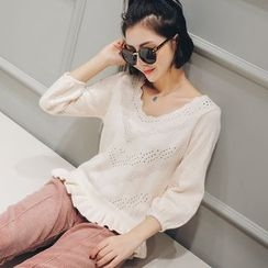 LRZ - V-neck Bell-Sleeve Knit Top
