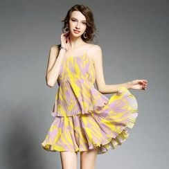 Ozipan - Pleated Print Sundress