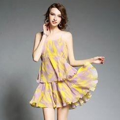欧依潮派 - 打褶裥印花沙滩裙