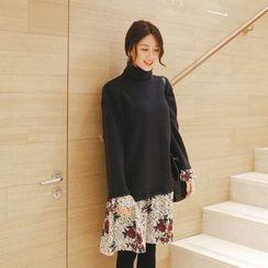 mimi&didi - Mock Two-Piece Flower Pattern-Hem Dress