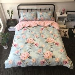 Miss Jane - Bedding Set: Floral Print Duvet Cover + Bet Sheet + Pillowcases