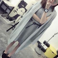 Qimi - 套裝: 開胸長款開衫 + 無袖針織連衣裙