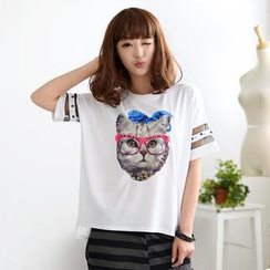 59 Seconds - Short-Sleeved Beaded Cat Print T-Shirt