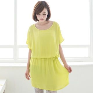 CatWorld - Batwing-Sleeve Frilled Chiffon Dress