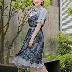 chuu - Set: Spaghetti-Strap Lace Dress + Stripe A-Line Shirtdress