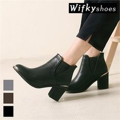 Wifky - Metal-Trim Chunky-Heel Ankle Boots
