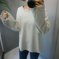 STYLEBYYAM - Stripe Drop-Shoulder T-Shirt