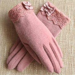 RGLT Scarves - Bow-Accent Wool Blend Gloves