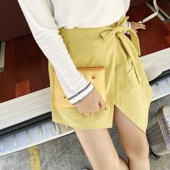 HELLO KANO - Bow Linen Cotton Skort