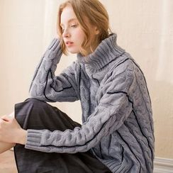 Tokyo Fashion - Turtleneck Cable Knit Sweater