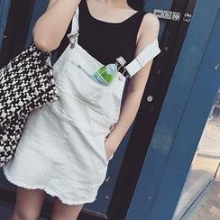 QZ Lady - Distressed Denim Jumper Skirt