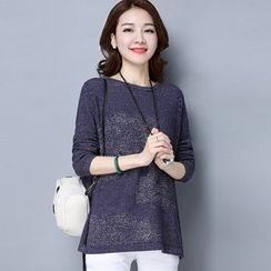 LANA - 2017春装新款 女式套头针织衫上衣韩版长袖宽松大码不规则针织衫