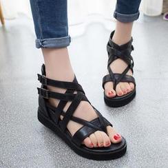 Amy Shoes - Cross Strap Hidden Wedge Sandals