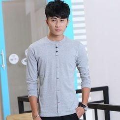 Walwa - Long-Sleeve Buttoned T-Shirt