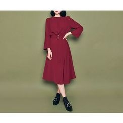 HOTPING - Round-Neck Slit-Side Dress With Belt