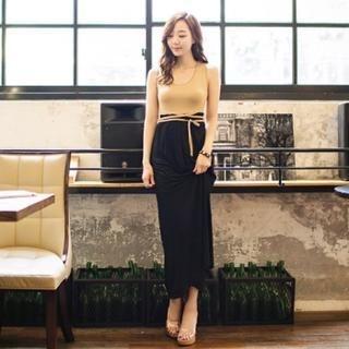 ERANZI - Sleeveless Two-Tone Maxi Dress