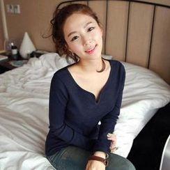 Mini Jule - Long-Sleeve Notched-Neck T-Shirt