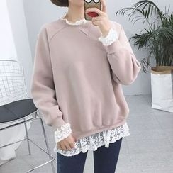 Rocho - Lace Trim Sweatshirt