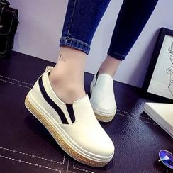 Charming Kicks - 拼接麻布輕便鞋